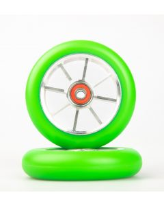 GRIT Wheels 110mm - GREEN / SILVER (Pair)