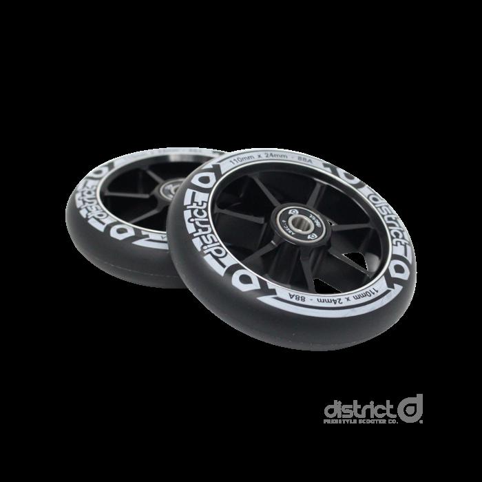 DISTRICT 110mm Wheels (PAIR) - BLACK/BLACK
