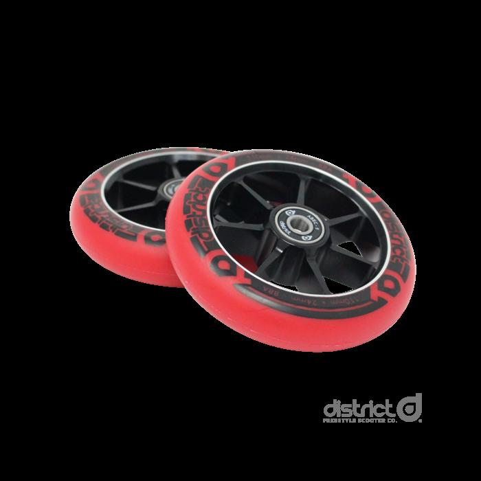 DISTRICT 100mm Wheels (PAIR) - BLACK/RED