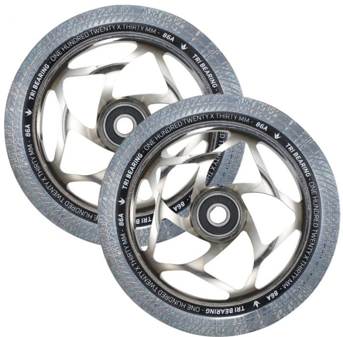 ENVY 120mm Tri Bearing 30mm Wheels - CHROME/CLEAR