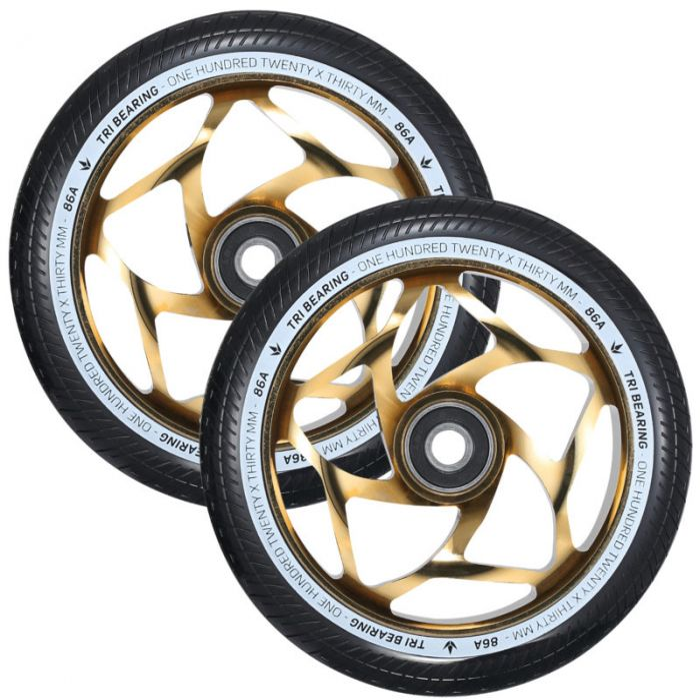 ENVY 120mm Tri Bearing 30mm Wheels - GOLD/BLACK