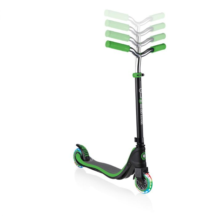 GLOBBER Flow 125 Lights Scooter - Black Neon Green