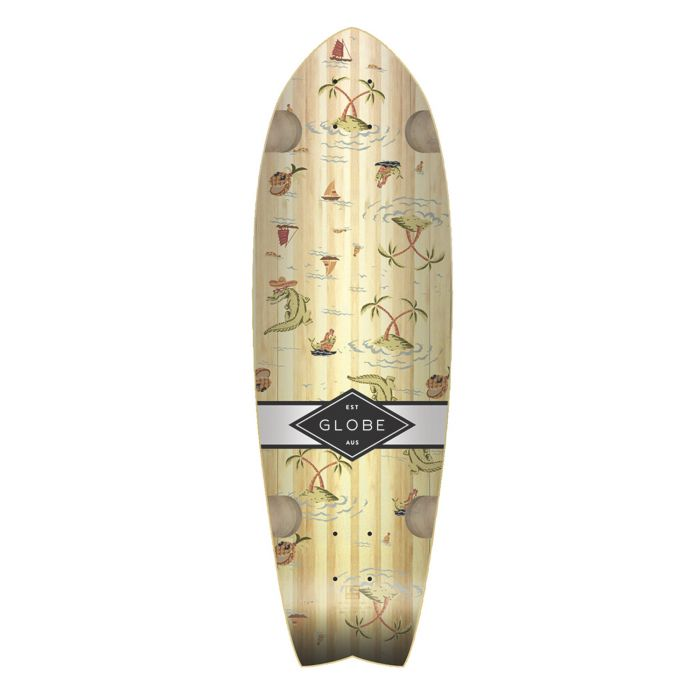 GLOBE Skateboard Cruiser Deck SUN CITY BAMBOO/PALMS 9 x 30