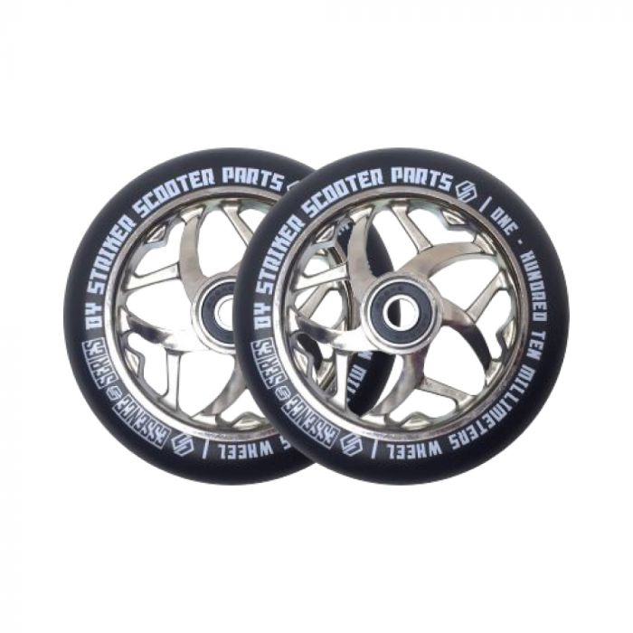 Striker Essence Wheels 110mm - Chrome/Black (Pair)