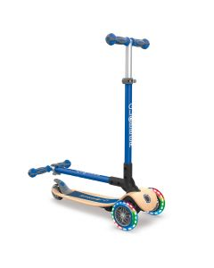 GLOBBER Primo Foldable  w/Lights - WOOD / NAVY BLUE